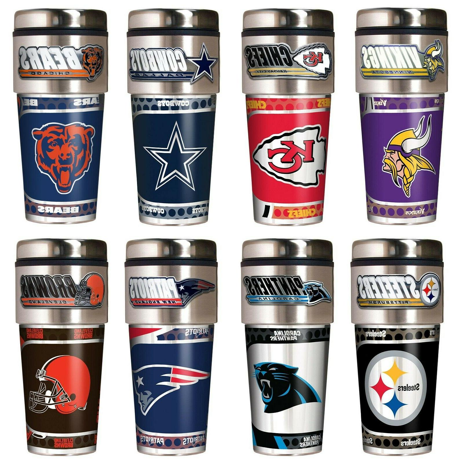nfl metallic travel tumbler stainless steel