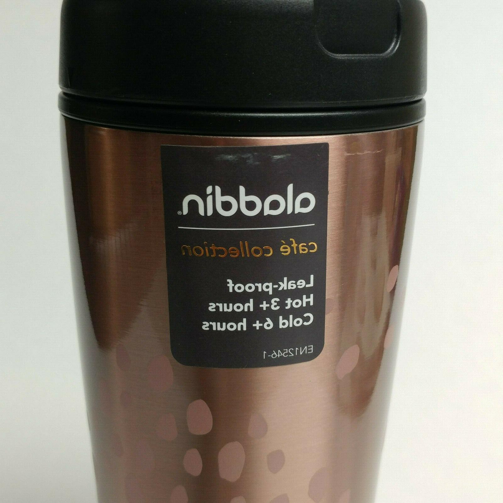 NWT Aladdin gold black mug tumbler cup Cafe Collection coffee
