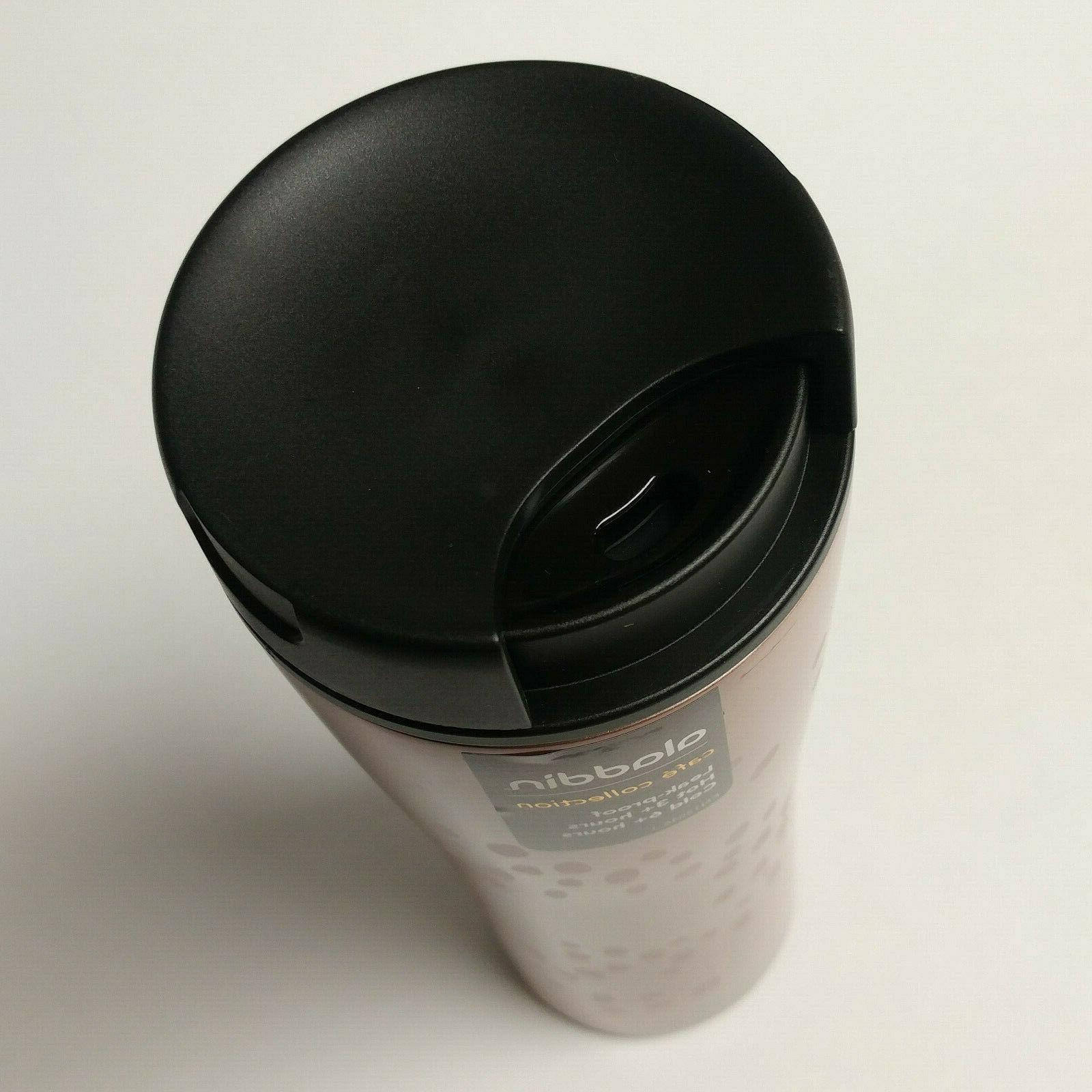 NWT rose black 16oz travel mug tumbler Cafe Collection coffee