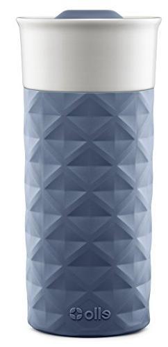 Ello Ogden BPA-Free Ceramic Travel Mug with Lid, Evening Blu