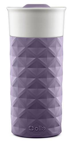 Ello Ogden BPA-Free Ceramic Travel Mug with Lid, Deep Purple