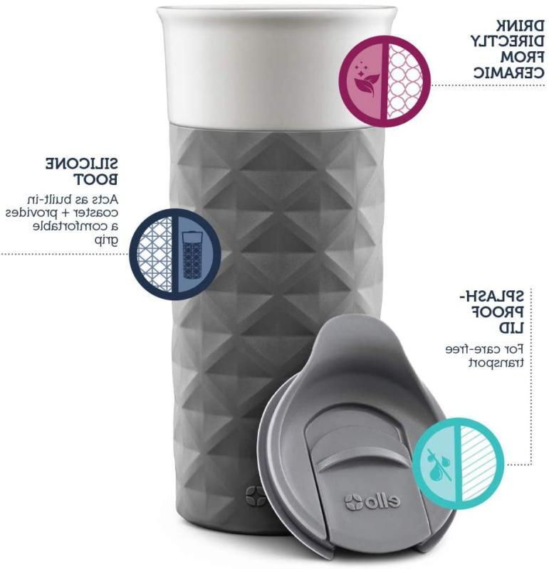 Ello Ogden Ceramic Mug FrictionFit 16 oz Grey