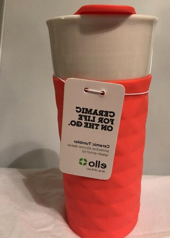 Ello Ogden BPA-Free Ceramic Travel Mug with Lid, Coral Diamo