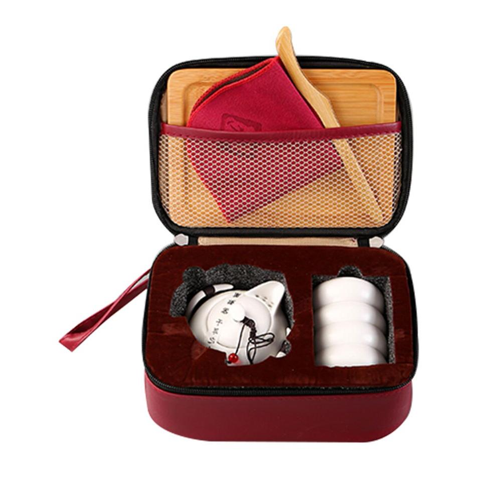 Portable Ceramic Set Vintage Kungfu Pot <font><b>Tray</b></font> with Bag for