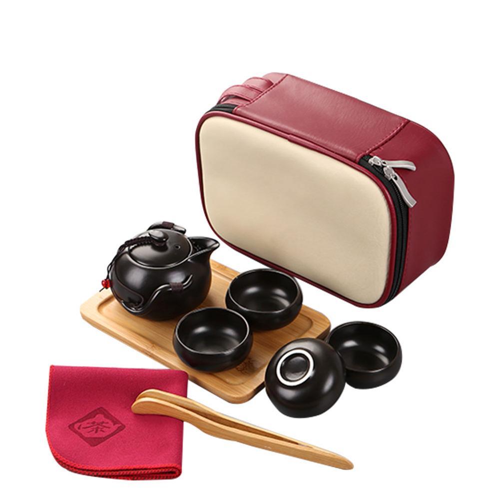 Portable Teacup Set Vintage Kungfu Tea Pot Storage Bag