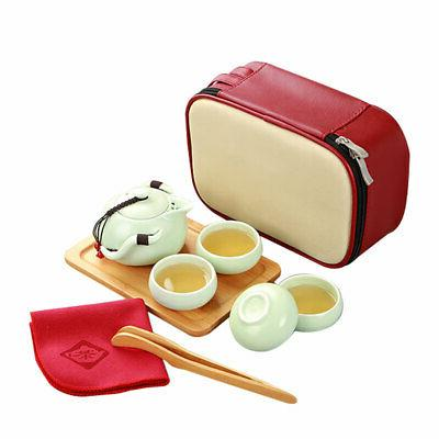 Portable Travel Ceramic Teacup Set Mug Pot Bag