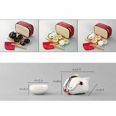 Portable outdoor Travel Ceramic Teacup Set Pot Bag
