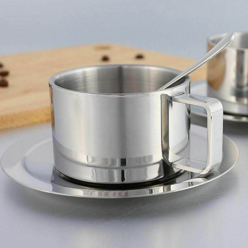 Portable Travel Coffee Tea Cup Double Wall Stainless Steel M