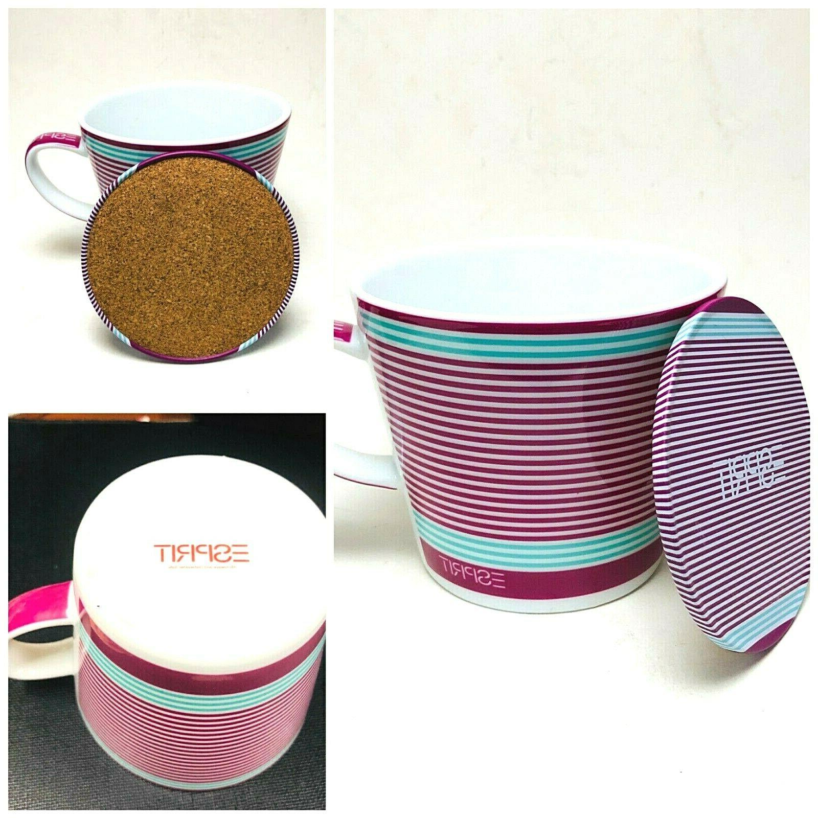 Red Esprit Coffee and Travel Ceramic Cup Tin Box
