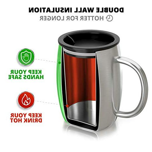 Stainless Coffee Mug with Set 2 - Premium Wall Travel - Shatterproof, Free Spill Safe