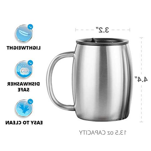 Stainless Steel Coffee with 2 - Wall Insulated Mugs - Shatterproof, BPA Spill Resistant Dishwasher Safe