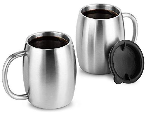 Stainless Steel with Set 2 - Double Wall Mugs - Shatterproof, BPA Spill Resistant Safe