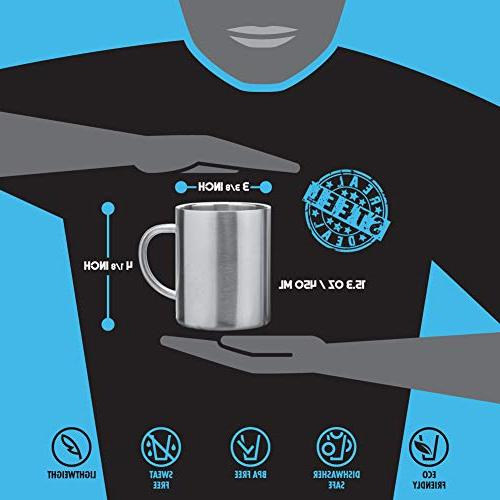 Stainless Double Mugs: 100% Free,15 oz Metal Coffee & Tea Insulated Cups Keep for of Mugs