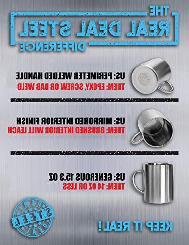 Stainless Steel Double Walled Mugs: 100% BPA oz Insulated with Cold Longer for of 2 Mugs