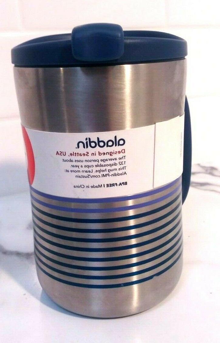 Coffee Travel Mug 16oz - Silver/Blue Stripes