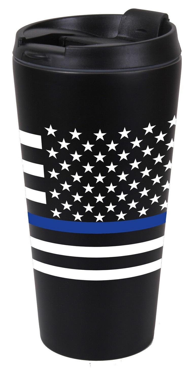 Rothco Thin Blue Line SS Black Travel Cup Mug 16oz Police La