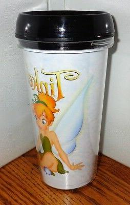 TINKERBELL MUG 2. 16oz. SNAP ON TUMBLER MUG.