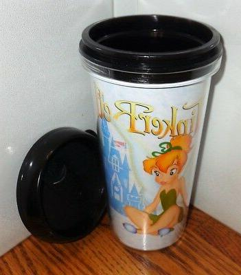 TINKERBELL TRAVEL MUG 2. 16oz. SNAP ON TUMBLER MUG.