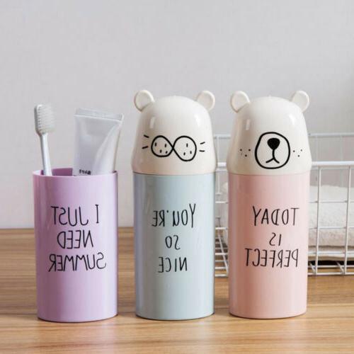Travel Toothbrush Storage Box Holder Tooth Mug Toothpaste Cu