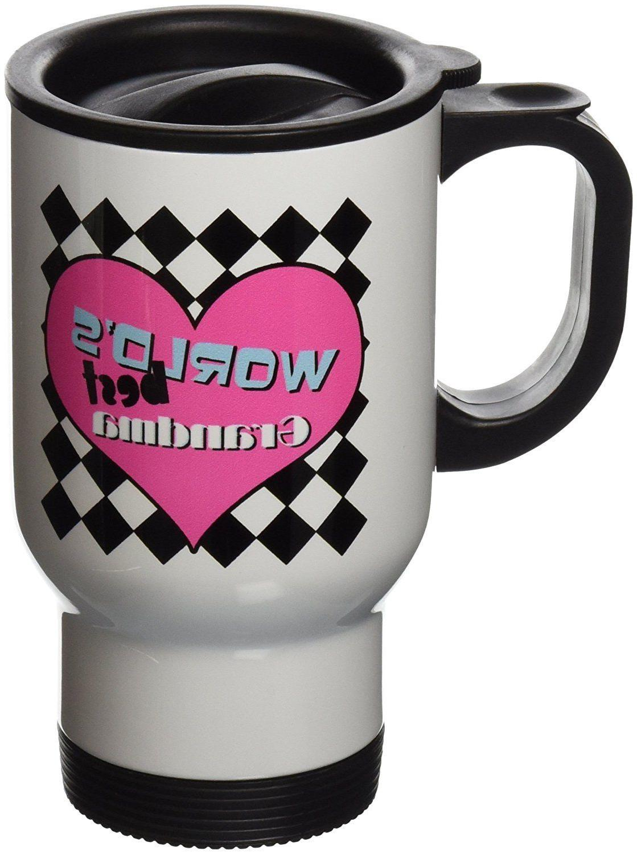 3dRose Worlds Best Grandma Stainless Steel Travel Mug, 14-Ou