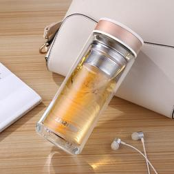 Lady Double Wall Glass Tea Tumbler Water Bottle with Infuser