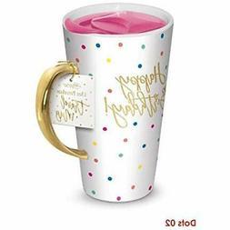 Lady Jayne Ceramic Travel Mug With Lid Confetti Pink Gold Ha