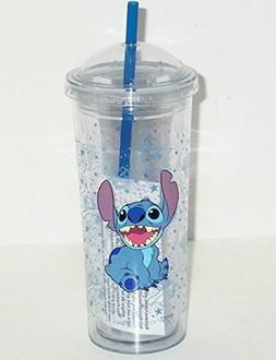 Disney Lilo Stitch Acrylic Travel Tumbler Reusable Straw Cup