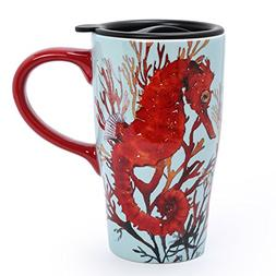 Minigift Ceramic Cup Travel Coffee Mug 17oz Seahorse Hippoca