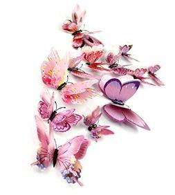DaGou mixed of 12PCS 3D Pink Butterfly Wall Stickers Decor A