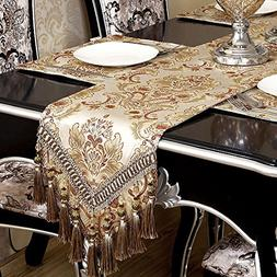 Modern Luxury Jacquard Damask Floral Table Runners And Dress
