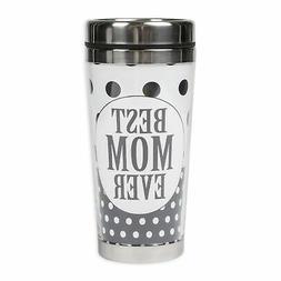 Best Mom Ever Black White Polka Dot 16 Ounce Stainless Steel