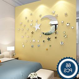 Moon and Stars Wall Stickers - 30cm Largest Moon with 66 Pie
