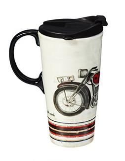 Cypress Home Motorcycle Ceramic Travel Coffee Mug, 17 ounces