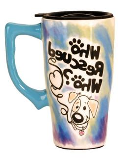 """Spoontiques """"Who Rescued Who"""" Travel Mug, Multi Colored"""