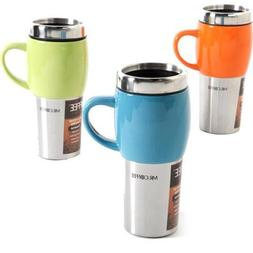 Mr Coffee Travel Mugs with Lids 16 oz Stainless Steel Stonew