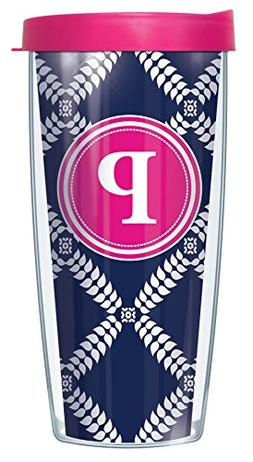 "Navy Royal Diamonds Letter ""P"" On Wrap Pink Initial 16 Oz Tr"