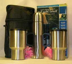 New 4 Piece Silver Travel Mug Set Coffee Tea 2 Cups 1Thermos