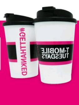 New T-Mobile Travel Mug Cup w/ Lid, Snap Seal - BPA Free - M