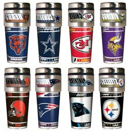 NFL Metallic Travel Tumbler - Stainless Steel and Black Viny