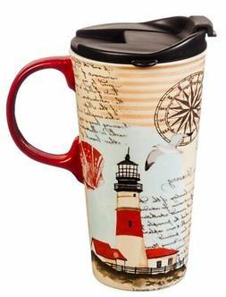 Cypress Home Northeast Lighthouse Ceramic Travel Coffee Mug,