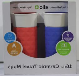 Ello Ogden BPA-Free Ceramic Travel Mug with Lid 2pk 2, Coral