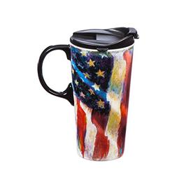Cypress Home Old Glory American Flag Ceramic Travel Coffee M