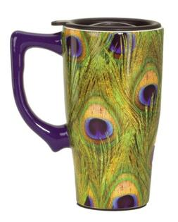 Spoontiques Peacock Feathers Travel Mug, Green