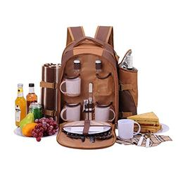 APOLLO WALKER Picnic Backpack Bag for 4 Person With Cooler C