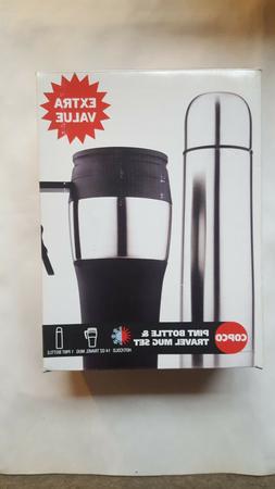Copco Pint Bottle & Travel Mug Set Coffee Hot Chocolate Stai