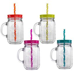 Aladdin 4 Piece 20 Ounce Plastic Mason Jars With Lid Set Han