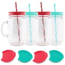 Aladdin  32oz Plastic Mason Jar Tumbler With Straw and Lid T