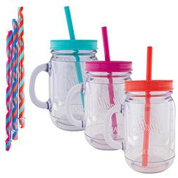 Aladdin  20oz Plastic Mason Jar Tumbler With Straw and Lid T