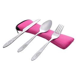 PENATE 3 Pcs Portable Flatware Set Food Grade Stainless Stee
