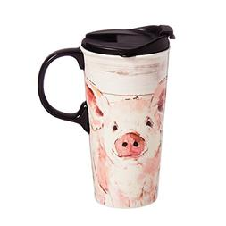 Cypress Home Pretty Pink Pig 17 oz Boxed Ceramic Perfect Tra